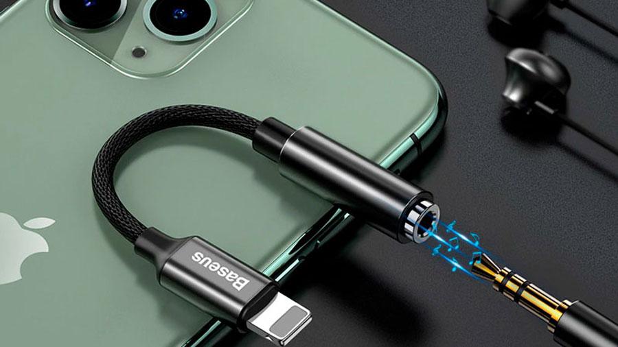 کابل تبدیل لایتنینگ به 3.5 میلیمتری بیسوس مدل Baseus iP Male to 3.5mm Female Adapter L3.5
