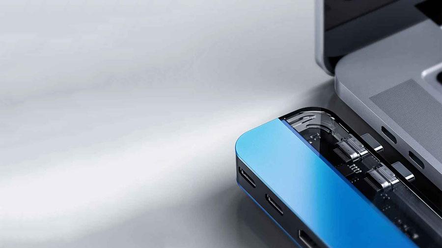 هاب چندکاره بیسوس مخصوص مک بوک مدل Baseus Transparent Series Dual Type-C Multifunctional HUB Adapter