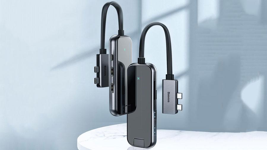 هاب چندکاره بیسوس مخصوص مک بوک مدل BASEUS Type-C Multifunctional HUB Adapter