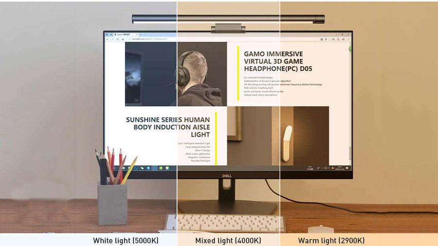 قابلیت تنظیم دمای نور در نور آویز صفحه نمایش بیسوس
