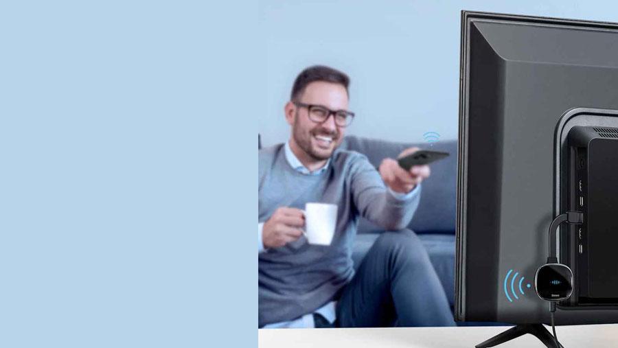 دانگل تایپ سی به HDMI بیسوس دارای فرستنده وای فای داخلی