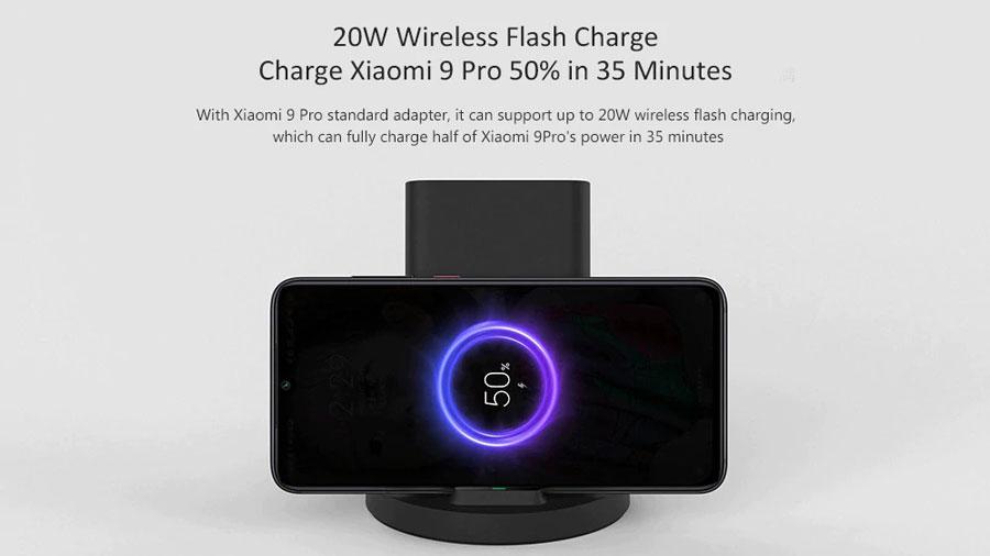 استند شارژر وایرلس شیائومی Mi 20W Wireless Charging Stand WPC02ZM قابلیت شارژ 50 درصد می 9 پرو در 35 دقیقه