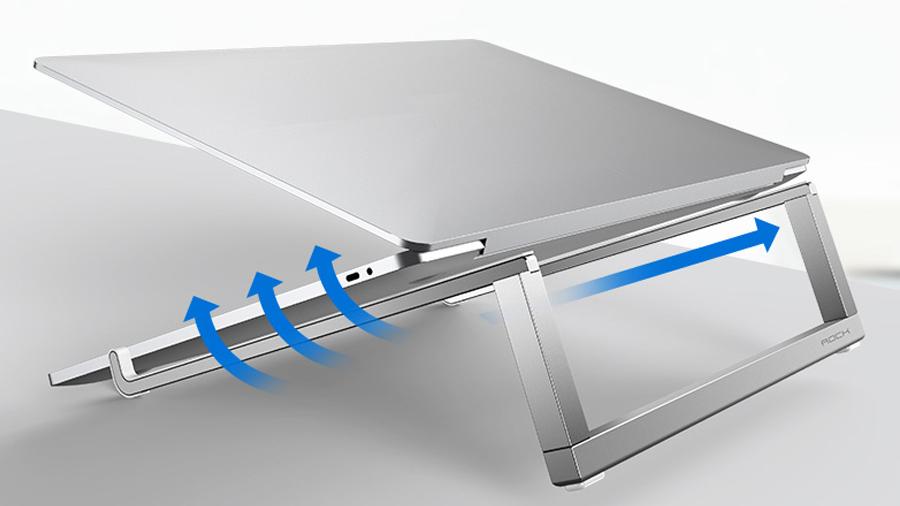 استند قابل حمل لپ تاپ راک ROCK Portable Laptop Stand  قابلیت تنفس بهتر لپتاپ و کمک به کاهش دمای آن