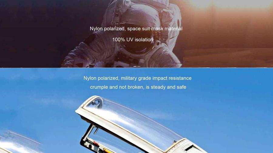 عینک آفتابی پولاریزه شیائومی Mi Polarized Navigator Sunglasses Pro  دارای عدسی های از جنس نایلون با مقاومت بسیار بالا