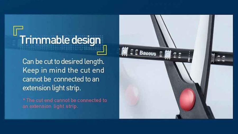 قابلیت برش نوار در نوار ال ای دی چند رنگ بیسوس BASEUS 1.5M Cool Black USB Colorful Electronic