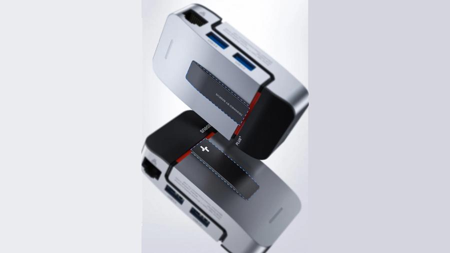هاب آداپتور تایپ سی مناسب مک بوک پرو بیسوس Baseus Armor Age Type-C Bracket Multifunctional HUB Adapter دارای پد های ضد لغزش