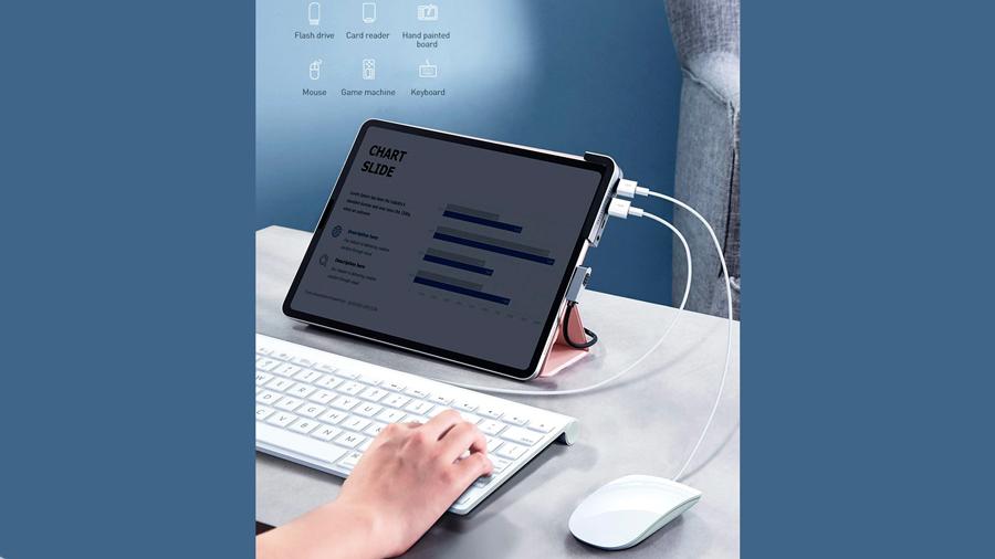 هاب آداپتور چندکاره بیسوس Baseus Bend Angle No.7 Multifunctional Type-C Converter دارای قابلیت استفاده از موس و کیبورد