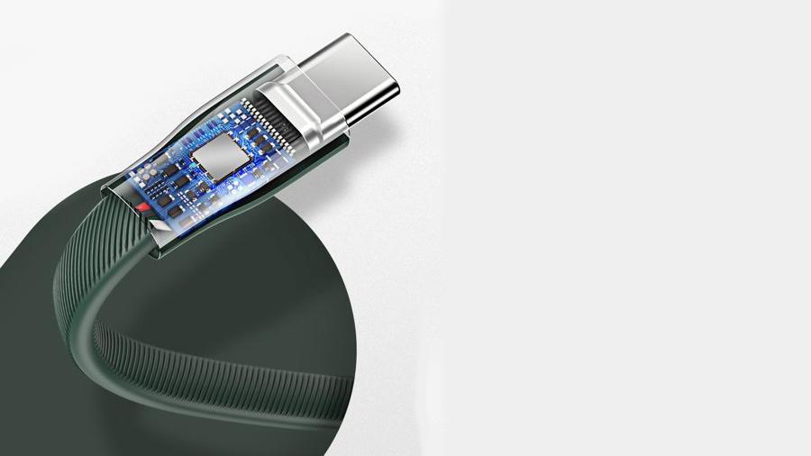 کابل شارژ و انتقال داده تایپ سی 22 سانتی متری بیسوس مدل دستبند Baseus Bracelet Cable USB for Type-C 22cm دارای تراشه کنترل هوشمند جریان