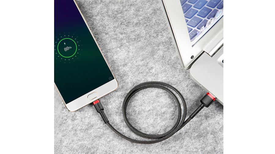 سرعت انتقال داده بالای کابل شارژ سه متری تایپ سی بیسوس Baseus Cafule Cable 3M Type-C