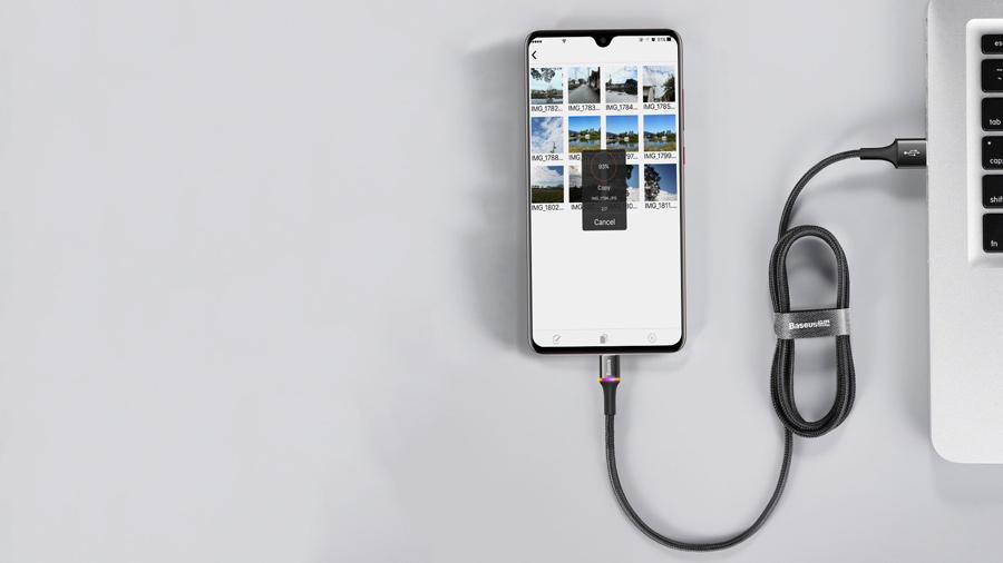 کابل شارژ و انتقال دیتای 25 سانتی متری میکرو یو اس بی بیسوس Baseus halo data cable USB For MicroUSB 0.25M دارای برچسب ولکرو