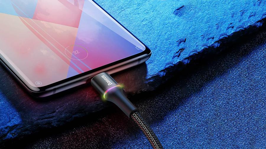 کابل شارژ و انتقال دیتای 25 سانتی متری میکرو یو اس بی بیسوس Baseus halo data cable USB For MicroUSB 0.25M دارای نشانگر ال ای دی