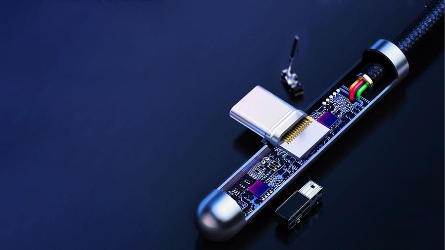 دو چیپ هوشمند کابل شارژ دو متری تایپ سی بیسوس Baseus Iridescent Lamp HW Charge Mobile Game 2M