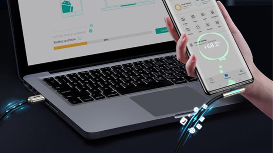 کابل شارژ دو متری تایپ سی بیسوس Baseus Iridescent Lamp HW Charge Mobile Game 2M قابلیت انتقال فایل ها با سرعت 480مگابیت بر ثانیه