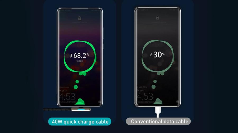 شارژ سریع به کمک کابل شارژ دو متری تایپ سی بیسوس Baseus Iridescent Lamp HW Charge Mobile Game 2M
