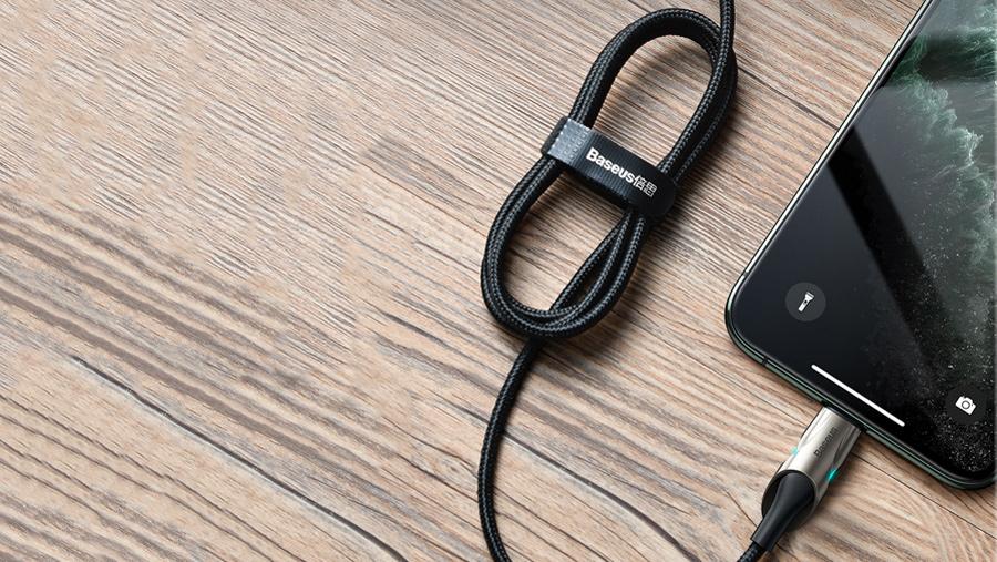 قابلیت جمع شدن کابل شارژ و انتقال داده 1 متری تایپ سی به لایتنینگ بیسوس Baseus Fish Eye Cable 1M