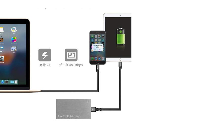 کابل شارژ دو در یک 1.2متری میکرو یو اس بی + لایتنینگ بیسوس Baseus Cable 2 in 1 Portable Lightning/Micro 1.2M دارای قابلیت شارژ سریع و انتقال سریع اطلاعات