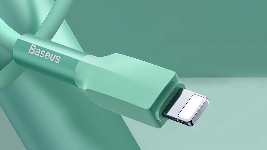محافظ آلومینیومی کابل شارژ سیلیکونی مخصوص آیفون (لایتنینگ)  بیسوس Baseus Silica Gel Cable