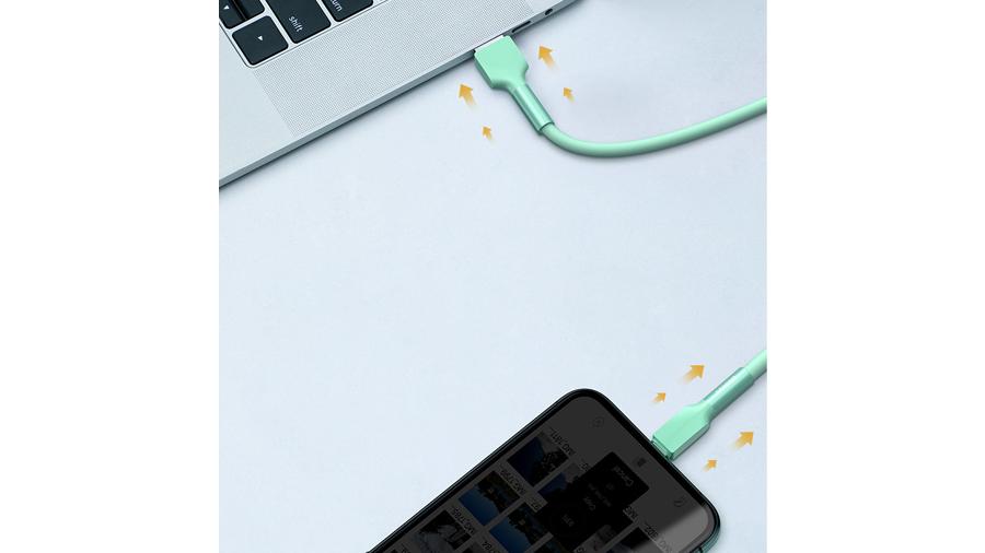 سرعت انتقال داده بالای کابل شارژ سیلیکونی مخصوص آیفون (لایتنینگ)  بیسوس Baseus Silica Gel Cable