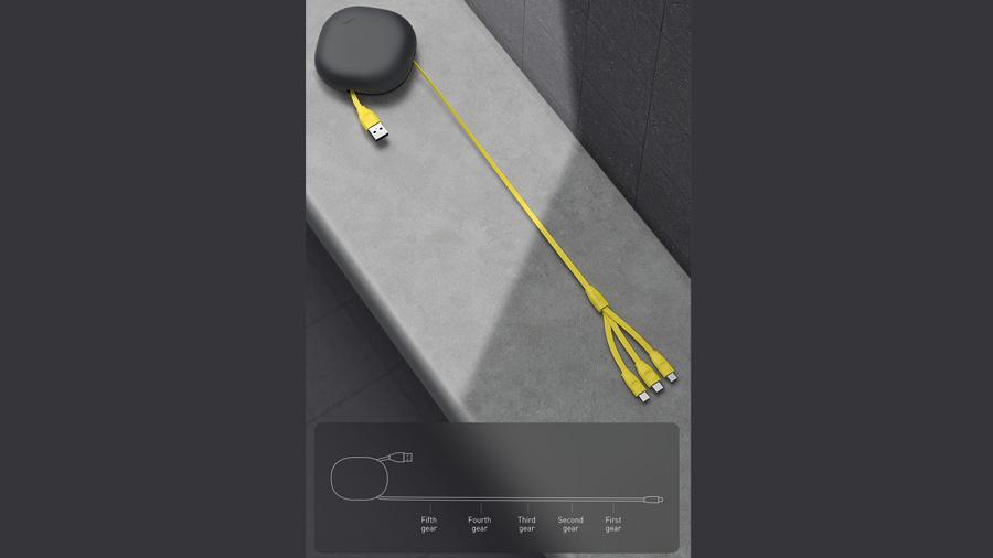 کابل شارژ و انتقال داده کششی 1 به 3 بیسوس Baseus Let''s go Little Reunion One-Way Stretchable 3in1 Data Cable دارای قابلیت جمع شوندگی