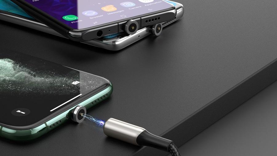 کابل شارژ و انتقال داده 2 متری آهنربایی به همراه سه کانکتور بیسوس Baseus Zinc Magnetic CablE Kit 2M بسیار کاربردی