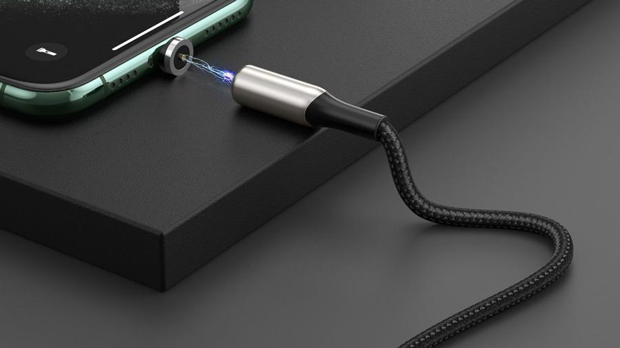 کابل شارژ و انتقال داده 1 متری آهنربایی میکرو یو اس بی بیسوس Baseus Zinc Magnetic Cable MicroUSB 1M دارای کانکتور های مغناطیسی