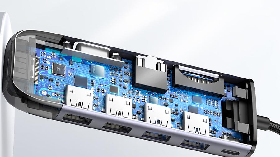 هاب آداپتور 10 در 1 تایپ سی مک دودو MCDODO 10 in 1 Type-C HUB HU-742 دارای تراشه کنترل هوشمند