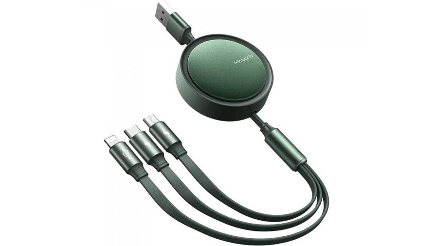 کابل شارژ 1.2 متری جمع شونده تایپ سی + لایتنینگ + میکرو یو اس بی مک دودو Mcdodo 3 in 1 Retractable Charging Cable 1.2M CA-725 قابلیت شارژ همزمان 3 دستگاه