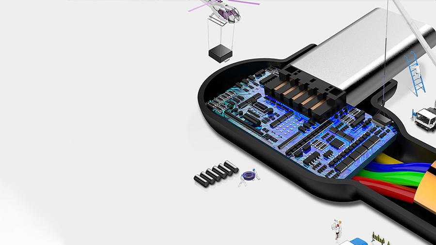 کابل شارژ و انتقال دیتا 3 متری تایپ سی مک دودو MCDODO 90 Degree Light Cable Type-C 3M CA-528 دارای تراشه کنترل هوشمند