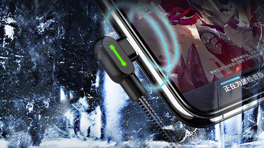 کابل شارژ و انتقال دیتا نیم متری تایپ سی مک دودو MCDODO 90 Degree Light Cable Type-C 0.5M CA-528 قابلیت تعدیل حرارت ایجاد شده