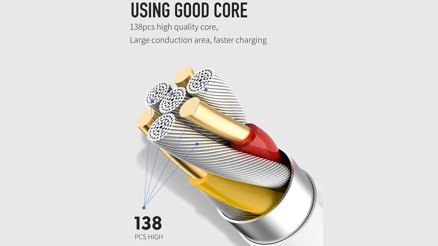 کابل شارژ و انتقال دیتا لایتنینگ 1.2 متری مک دودو MCDODO 90 Degree Reversible Lightning 1.2M CA-538 دارای هسته های مسی باکیفیت