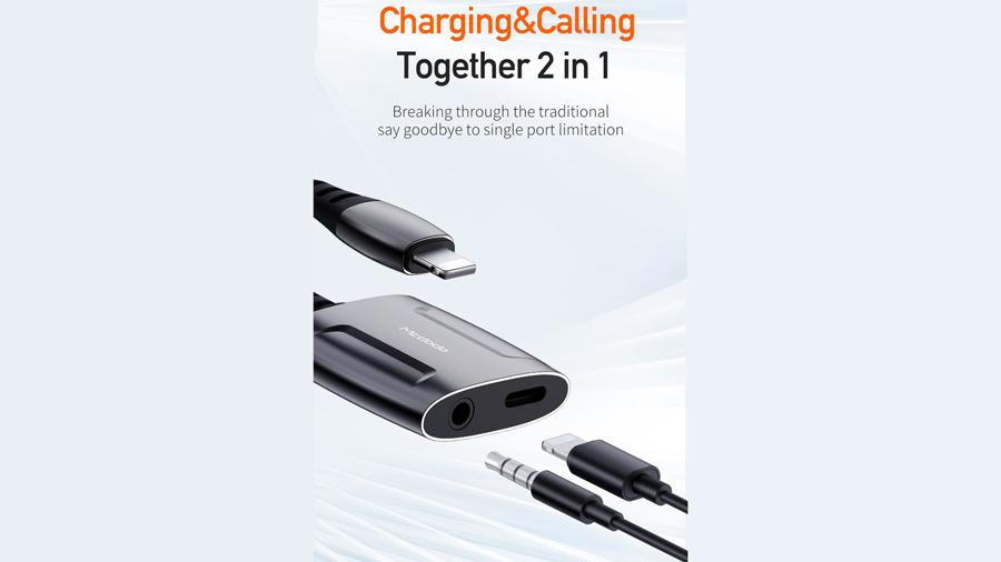 مبدل لایتنینگ به لایتنینگ و خروجی 3.5 میلیمتری صدا مک دودو MCDODO Lightning to Lightning and 3.5mm Cable 0.1M CH-634 دارای دو خروجی