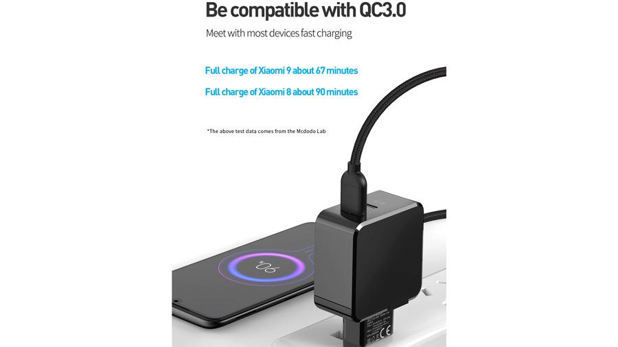 شارژر دیواری 30 وات دو پورت مک دودو MCDODO Dual Quick Charge 30W CH-692 سازگار با کوالکام کوییک شارژ