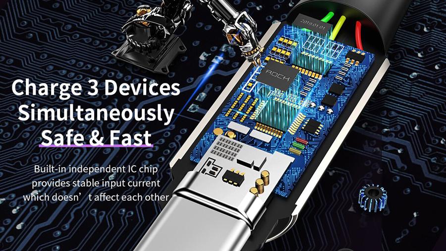 کابل شارژ و انتقال داده 1.2متری 3 در 1 راک ROCK M8 Zn-alloy 3 in 1 Charging Cable 1.2M دارای تراشه کنترل هوشمند جریان