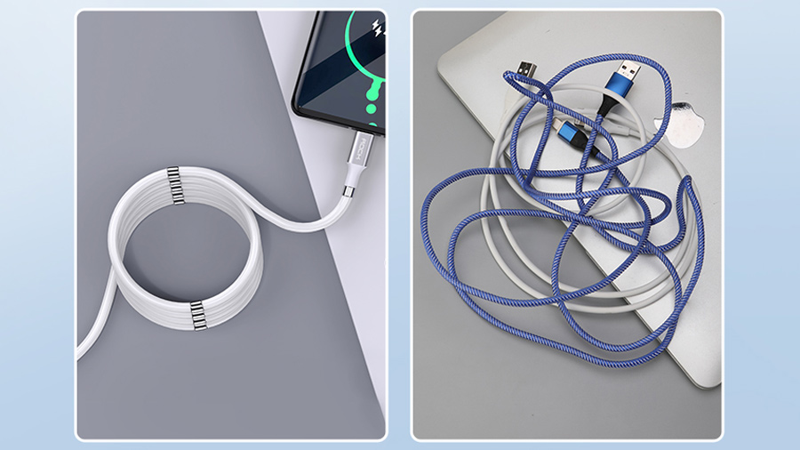 کابل شارژ 1.8 متری لایتنینگ راک مدل ROCK Magnetic Silicon Lightning Charge & Synce Cable 1.8M دارای قابلیت نظم دهی به کابل