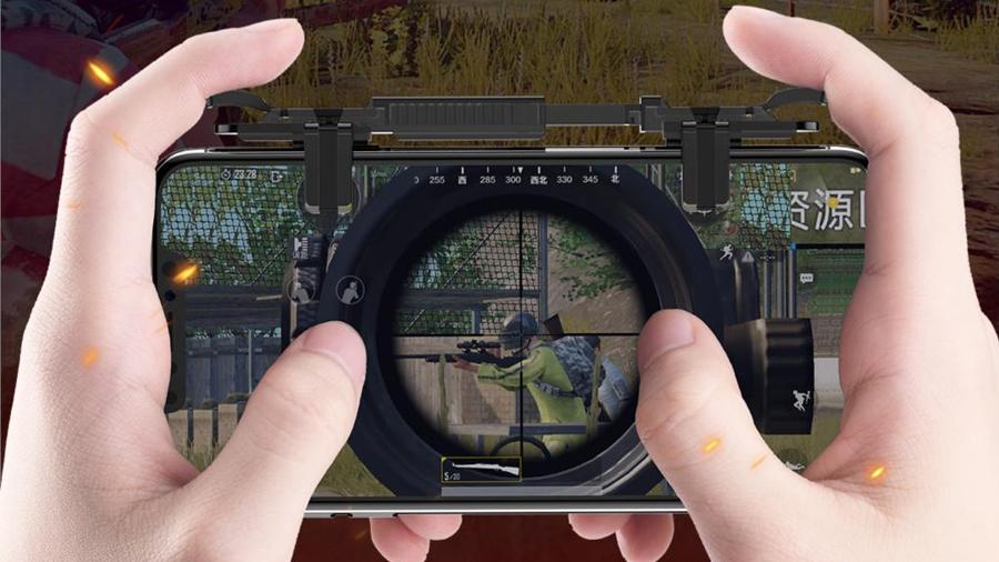ارگونومی مثال زدنی دسته بازی موبایل مخصوص PUBG راک  Rock Retractable Shooting Game Controller For PUBG