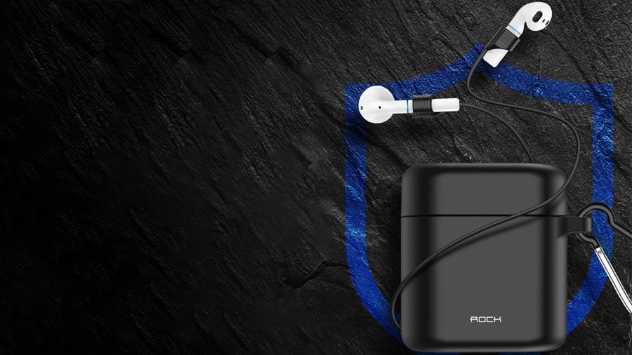 کیس محافظ سیلیکونی و بند نگهدارنده ایرباد هندزفری بیسیم راک ROCK Silicone Ear Phone Cases دارای بند برای متصل کردن ایرباد ها به یکدیگر