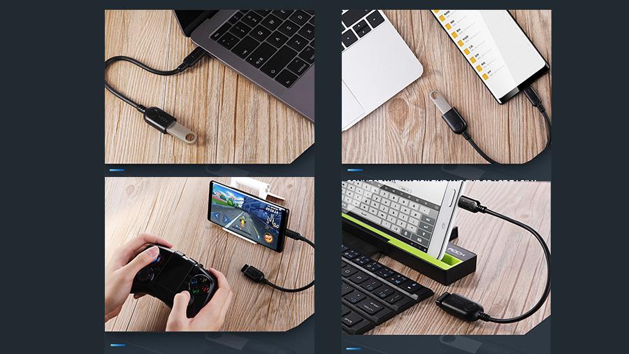 استفاده آسان از مبدل تایپ سی به یو اس بی 3.0 11 سانتی متری راک ROCK Type-C to USB 3.0 Adapter  سازگاری با دستگاه های تایپ سی