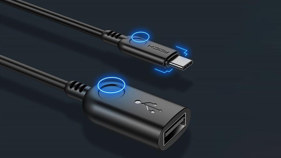 استفاده آسان از مبدل تایپ سی به یو اس بی 3.0 11 سانتی متری راک ROCK Type-C to USB 3.0 Adapter  دارای کیفیت ساخت بالا
