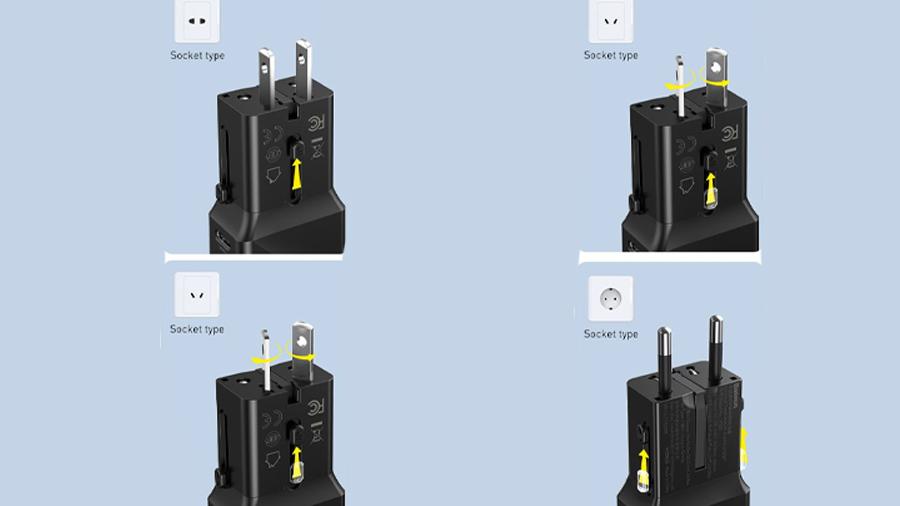 شارژر دیواری دو پورت بیسوس Baseus Universal Convesion Plug سازگار با دوشاخه های مختلف دنیا