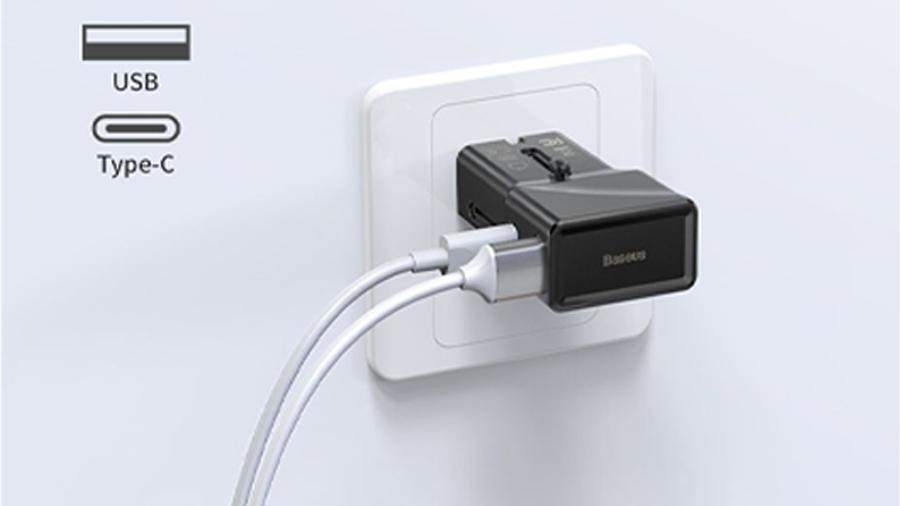 شارژر دیواری دو پورت بیسوس Baseus Universal Convesion Plug دارای قابلیت شارژ سریع