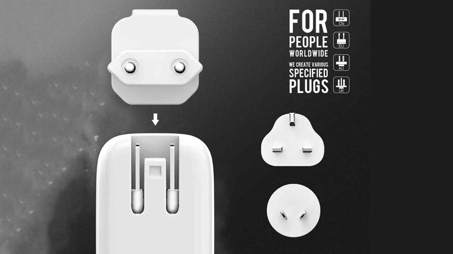 شارژر دیواری دو پورت و ال ای دی لمسی الدنیو LDNIO A2205 LED Touch Lamp With USB Charger دارای دوشاخه های قابل تعویض