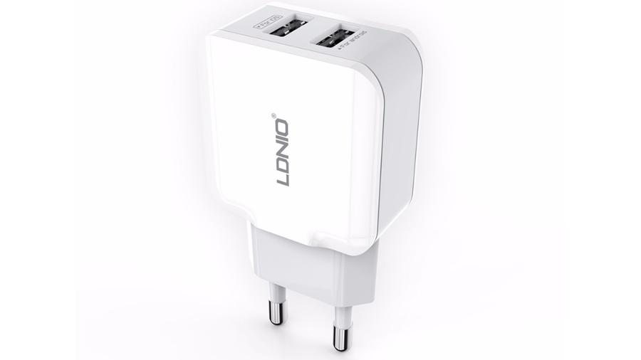 شارژر دیواری دو پورت الدنیو LDNIO Dual USB Home/Travel Charger A2202 یک شارژر ایمن