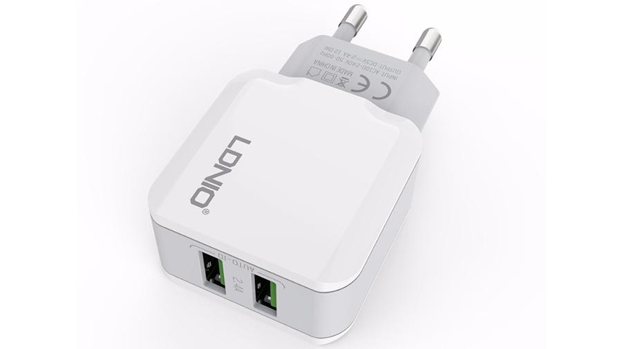 شارژر دیواری دو پورت الدنیو LDNIO Dual USB Home/Travel Charger A2202 با قابلیت شارژ همزمان