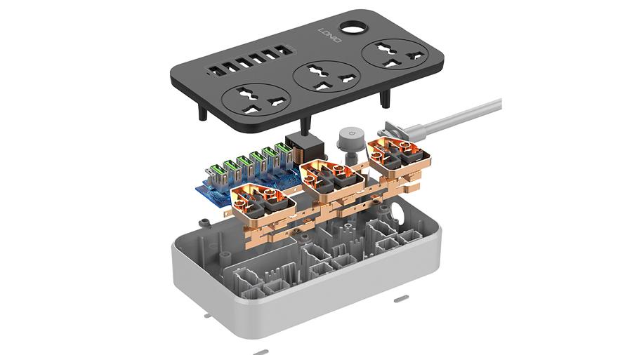 چند راهی برق و هاب شارژر الدنیو LDNIO USB Power Adapter Charger SC3604 دارای کیفیت ساخت بالا