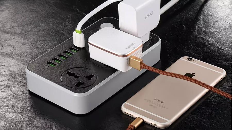 چند راهی برق و هاب شارژر الدنیو LDNIO USB Power Adapter Charger SC3604 دارای قابلیت شارژ سریع