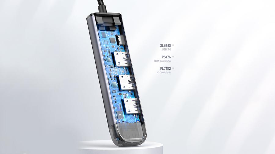هاب آداپتور تایپ سی 5 در 1 مک دودو MCDODO 5 in 1 USB-C HUB HU-775 دارای تراشه کنترل هوشمند عملکرد هاب