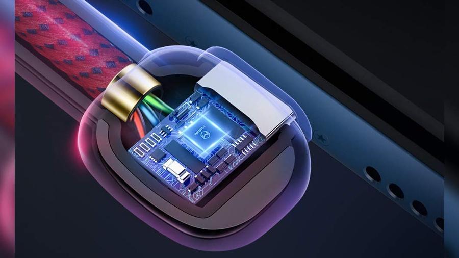 کابل شارژ و انتقال داده 1.5 متری تایپ سی مک دودو MCDODO 90° Auto Power Off Type-C Data Cable 1.5M CA-5923 دارای تراشه کنترل هوشمند