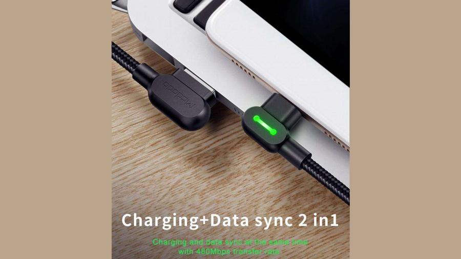 کابل شارژ و انتقال داده میکرو یو اس بی مک دودو MCDODO CA-577 90 Light MicroUSB 1.8M  دارای قابلیت انتقال داده