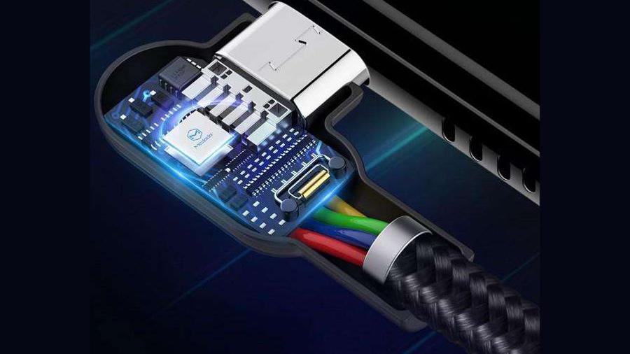 کابل شارژ و انتقال داده میکرو یو اس بی مک دودو MCDODO CA-577 90 Light MicroUSB 1.8M  دارای تراشه کنترل هوشمند