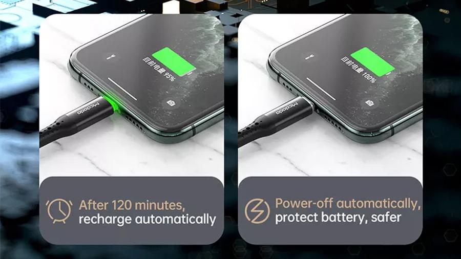 کابل شارژ و انتقال داده لایتنینگ مک دودو MCDODO Auto Power Off Lightning 1.2M ca-7412 دارای قابلیت شارژ هوشمند
